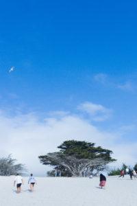 Carmel beach with high sky