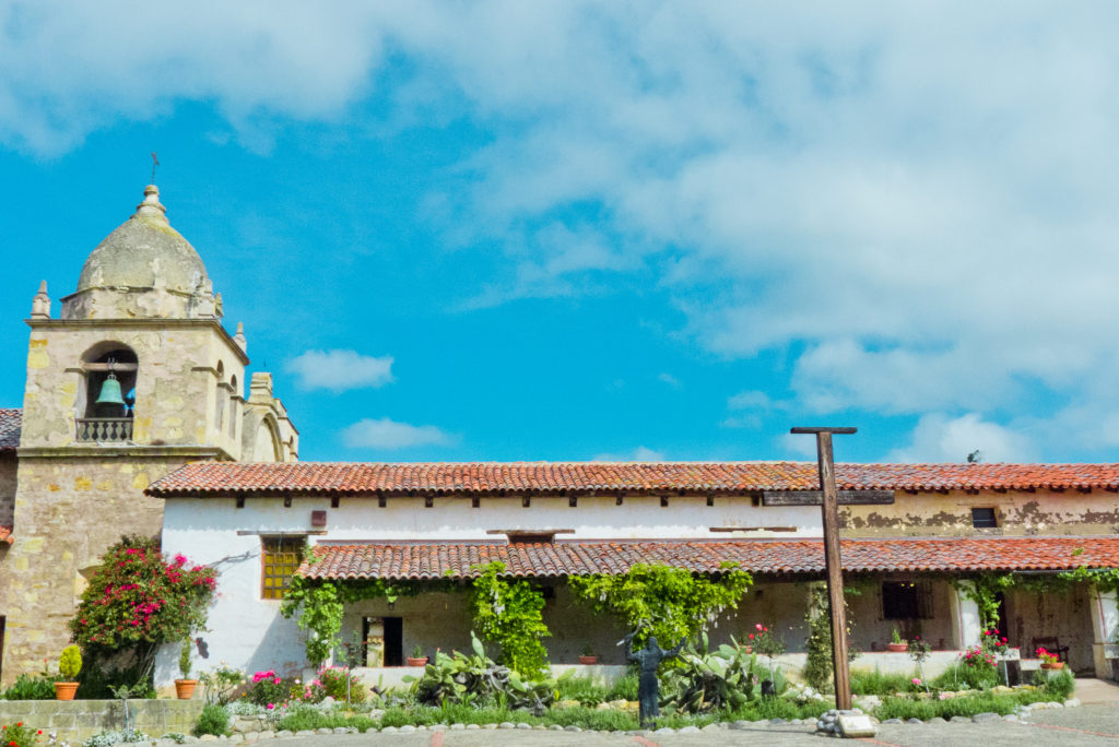 View of Carmel Mission Basilica from the courtyard